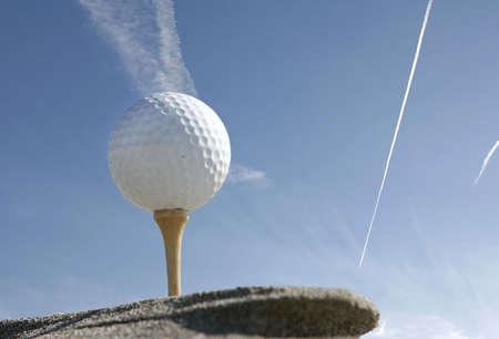 golf ball with blue sky and clouds Stock Photo - 886089