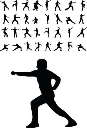 kungfu: illustration of 33 martial arts silhouettes Illustration