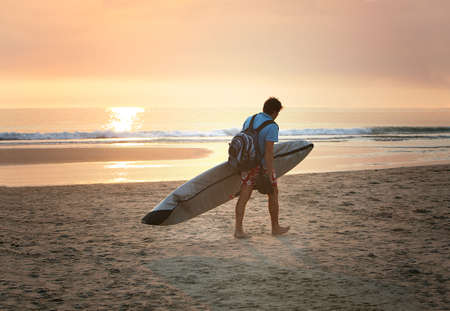 exhilarating: the end of day for the surfer Stock Photo