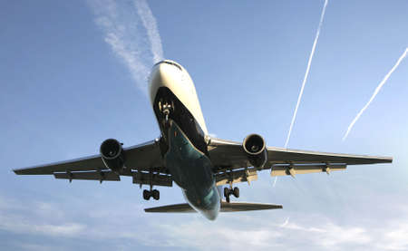 jetliner: Airliner Makes its Landing Approach with a blue sky