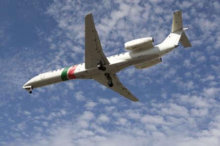 jetliner: airplane preparing the landing Stock Photo