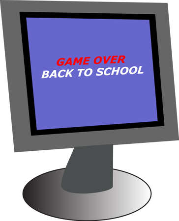 illustration of a pc monitor with back to school text Stock Vector - 1398001