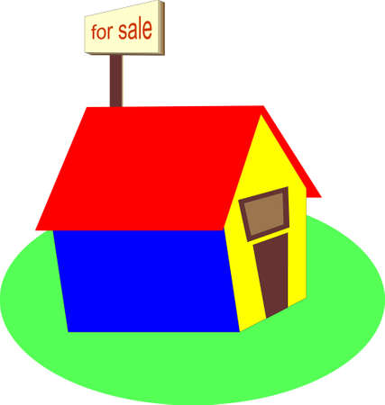 obtain: illustration of a home with a for sale sign Illustration