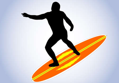 illustration of a surfer and surfboard Vector