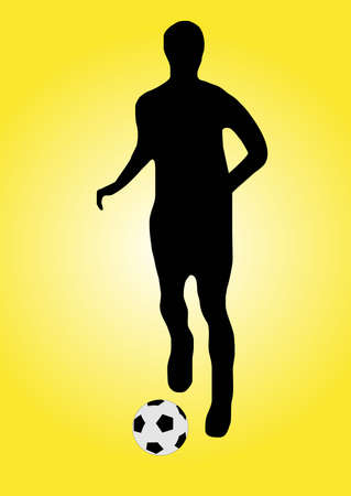 illustration of a soccer player running with a ball