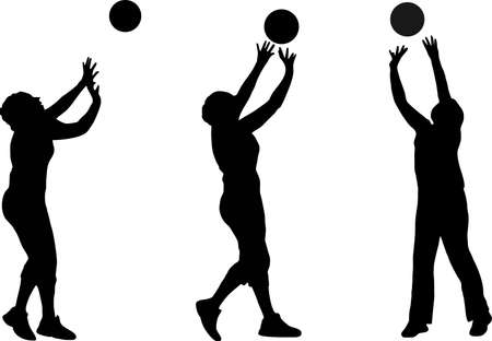 illustration of several volleyball silhouettes Illustration