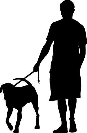 silhouette femme: illustration d'un homme et son chien