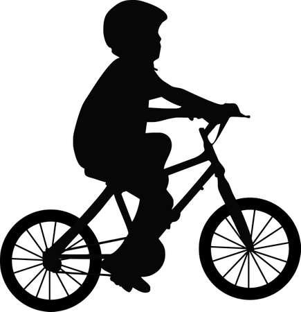 bike vector: ilustraci�n de un muchacho y de una bicicleta