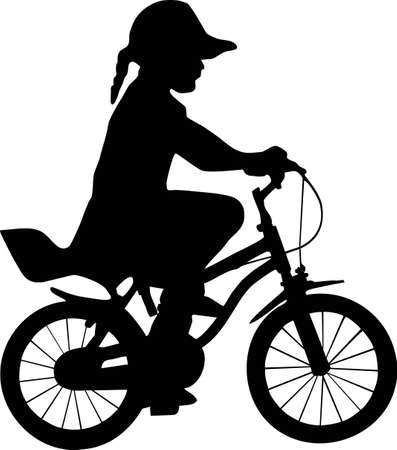 one wheel bike: illustration of a girl and bicycle