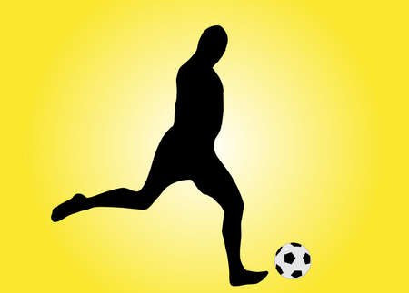 illustration of a soccer player shooting the ball Vector