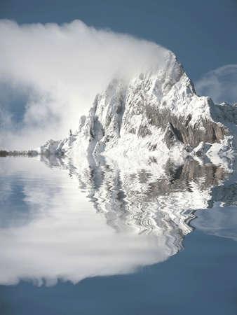mirrored top of mountain with snow in picos da europa Stock Photo - 1746183