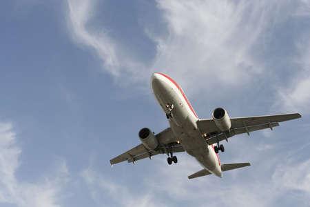 airplane preparing to landing Stock Photo