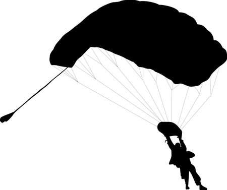 fallschirmj�ger: Illustration von zwei Parachuter mit zu Silhouetten  Illustration