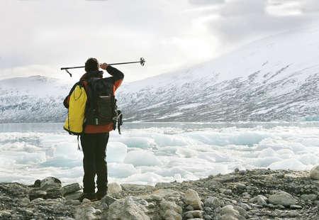 explorer in the Jostedalsbreen glacier photo