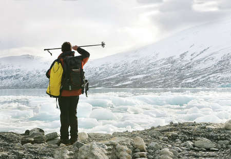 explorer in the Jostedalsbreen glacier