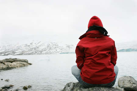 girl in meditation at Jostedalsbreen glacier Stock Photo - 1932308
