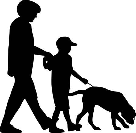 poser: illustration of a  with dog Illustration