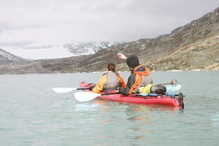 couple kayaking in Jostedalsbreen glaciar Stock Photo - 2171247