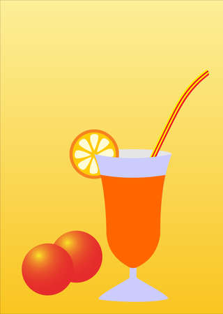 illustration of a glass with an orange slice Vector