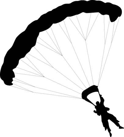 skydiving: illustration of two Parachuter with to silhouettes