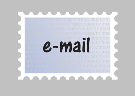 outbox: illustration of an email stamp