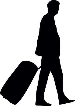 depart: illustration of a man with baggage Illustration