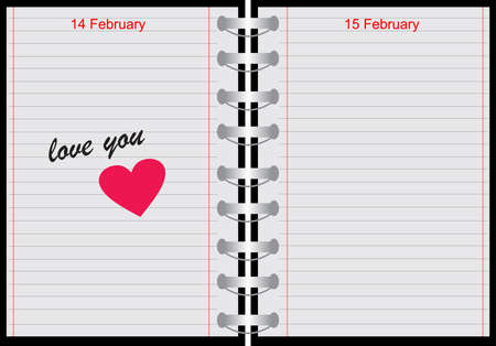 illustration of a notebook with love you text Vector