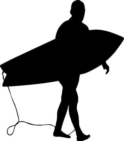 coast guard: ilustraci�n de un surfista silueta