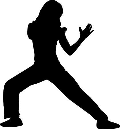 martial arts woman: illustration of a girl doing sports