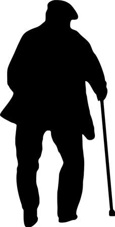 silhouette of man: illustration of an old man