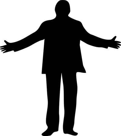 oneness: illustrazione di un uomo con le braccia aperte  Vettoriali