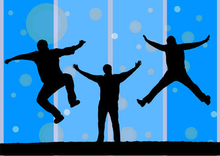 limber: illustration of three silhouette jumping