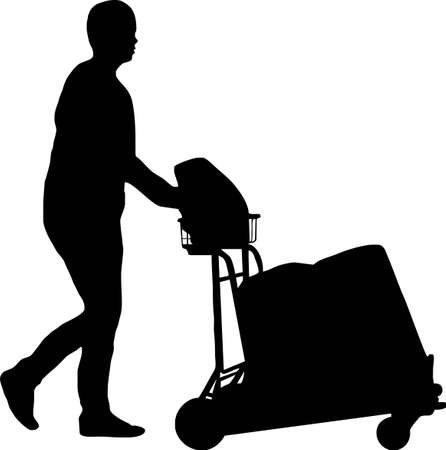 trolley case: illustration of a man with trolley