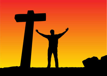 man with open arms and a cross Illustration