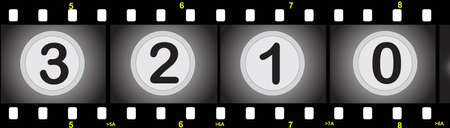 illustration of a film strip with numbers Vector
