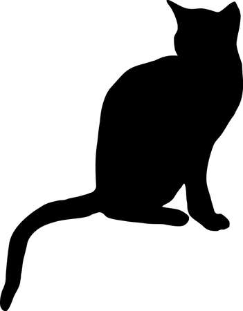 chat dessin: illustration d'un chat noir  Illustration