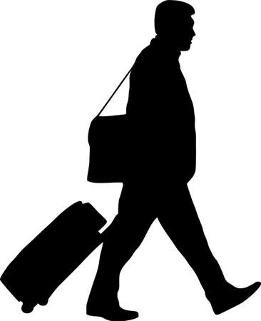 illustration of a man with trolley