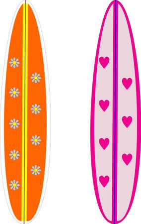chica surf: ilustraci�n de dos tablas de surf Vectores