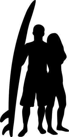 surfer silhouette: illustration of a couple of surfers with a surf board