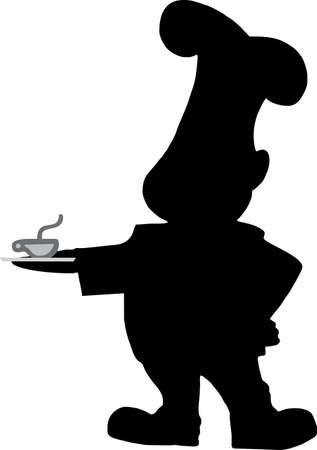 illustration of a cooker with a cup of coffee in the hand Vector
