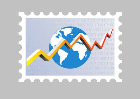 ilustración de un sello con un gráfico Ilustración de vector