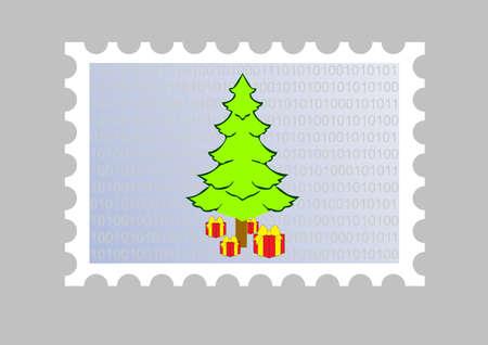 ejemplo de un mensaje de correo electr�nico sello de Navidad Foto de archivo - 3712160