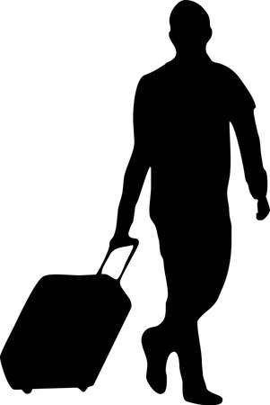 illustration of a man with baggage Vettoriali
