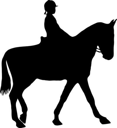 free vector art: illustration of a horse and jockey