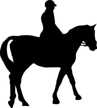horse saddle: Illustrazione di un cavallo e fantino Vettoriali