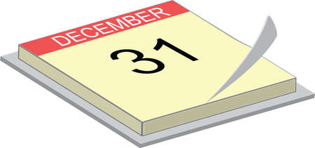 illustration of a calendar showing the 31 of december Vector
