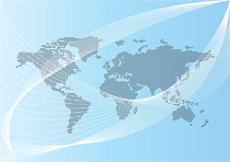 credit crisis: world map illustration with lines Illustration