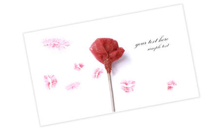 red rose with several red lipstick kisses Stock Photo - 4090904