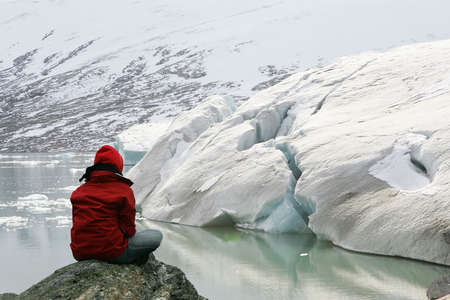 girl in meditation at Jostedalsbreen glacier