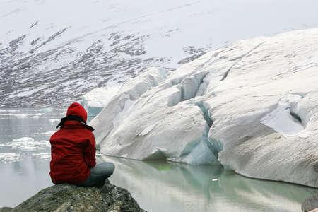 girl in meditation at Jostedalsbreen glacier